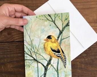 Golden Finch : Fine Art Greeting Card