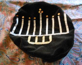 Black Velveteen Menorah Hat