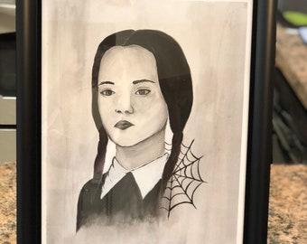 Original Wednesday Addams Painting