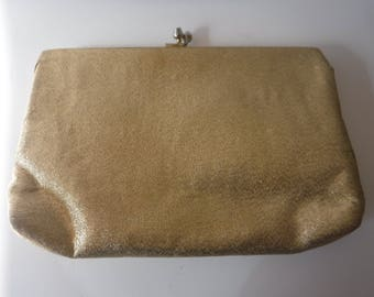 Mid-Century Modern Sparkly Gold Clutch Evening Bag