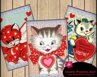 Cutie Pie Kittens Valentine 2.5x3.5 Digital Collage Sheet vintage tags greeting cards ATC ACEO hearts love cat - U Print 300dpi jpg