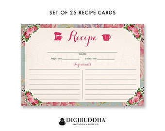 Set of 25 4x6 Recipe Cards Recipe Card Double Sided Pack of 25 Floral Recipe Cards Printed Blank Recipe Cards Package of 25 - Giada