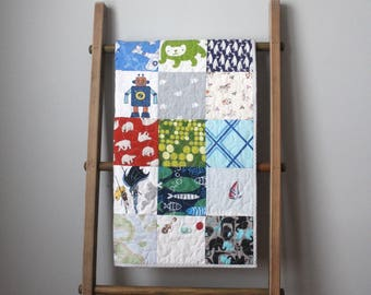Boy Baby Quilt-Retro Baby Quilt- I Spy Baby Quilt- Retro Boy Nursery Bedding- Vintage Sheet Quilt- Unique Baby Boy Gift- Upcycled Quilt
