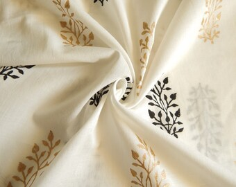 1 yard of Block Print Fabric, Indian Cotton Fabric, Indian Block Print Fabric, White Fabric with Floral Prints