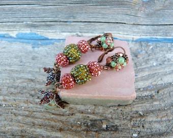 Green & salmon pink Handmade in France long POMPOMS dangles earrings on leverbacks