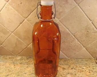 Vintage Large Orange Glass Bottle With Stopper