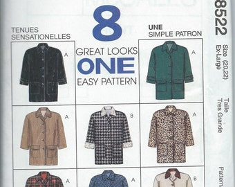 McCall's 8522 Misses' Lined Jacket - Size XL - Uncut Vintage Pattern