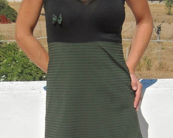 Mini black/green halter dress