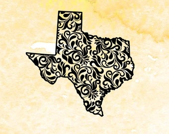 Texas state SVG, pfd, eps cutting files for silhouette, svg file for cricut, Floral pattern Texas monogram base, swirly texas svg