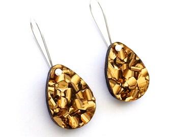 Baby Drop Earrings - Each To Own Original - Bronze Glitter - Laser Cut Drop Earrings
