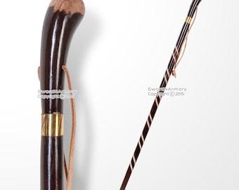 Solid Wooden Walking Stick Round Grip Gentlemen Spiral Fluted Walking Cane