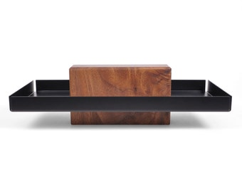Talbot | Walnut & Black - Pedestal Tray, Catchall, Tray