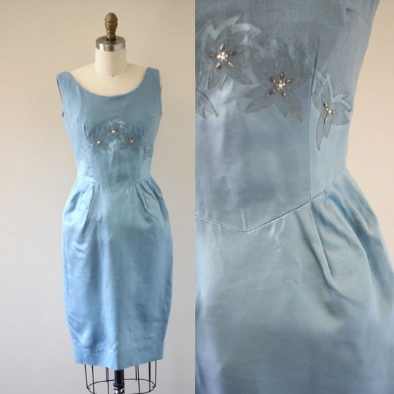 1960s blue wiggle dress // beaded blue dress // vintage dress