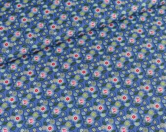 Cotton fabric Clarissa Flower vines on blue (9.90 EUR/meter)