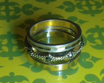 The A.M. Ring Stack Trio Mixed Metal Stacking Bands Size 5-6