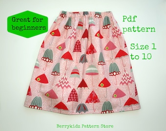 Easy sewing PDF pattern, Easy children sewing pattern, Twirl skirt pattern, Sewing patterns for beginners - Umbrella skirt pattern (S111)