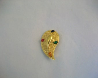 Vintage Teardrop Gold Tone Multi Color Beads Pin Brooch