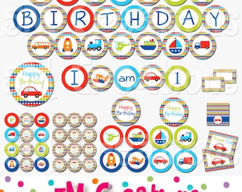 Transportation Birthday Party Printable Decorations - Vehicle Printables  - Car Truck Banners - Little Red Car Party -INSTANT DOWNLOAD Pdf