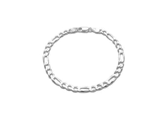 4MM Sterling  Silver Figaro Chain Bracelet , 8 Inches