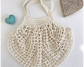 French Market Shopping Bag by Surfcoast Boho, cream crocheted cotton.