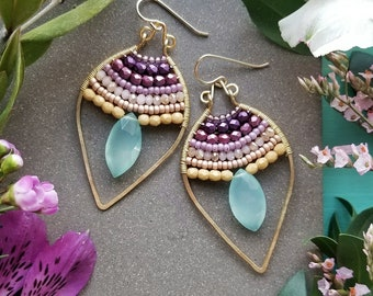 Beaded Chalcedony Petal Earrings in Gold >> Aqua Green Chalcedony Gems w/Purple to Yellow Ombre Crystals - Gemstone, Boho Luxe