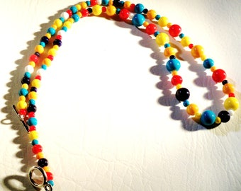 Fiesta Necklace 23 Inches Fun Colorful Glass Beads