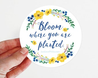 Car Magnet   Bloom Where You Are Planted   3.5 x 3.5 in