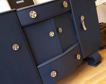 Vintage Navy Blue and Gold Sideboard Upcycled Buffet Dresser 1940's