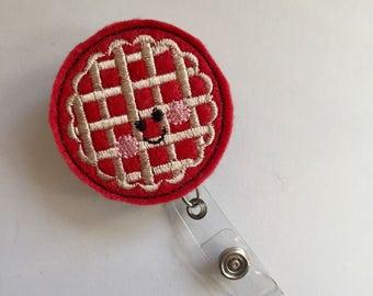 Pie ID Badge, Foodie Badge Reel, Cherry Pie Name Tag, Kawaii Badge Clip, Retractable Badge Reel, Belt Clip Swivel Clip, Feltie Badge Clip