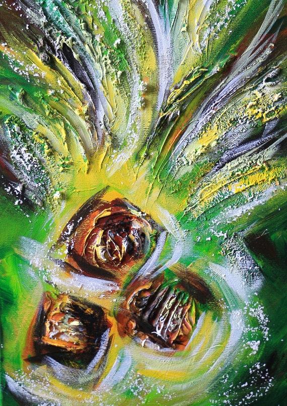 """Green abstract painting, modern landscape painting, seascape art, coconut tree art, Floral wall art, zen artwork, ocean art 18""""x24"""" Yin Lum"""