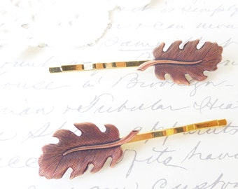 Golden Copper Leaf Hair Pin Set - Bobby Pin - Woodland Collection - Whimsical - Nature - Bridal