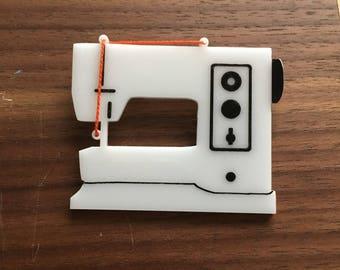 Swiss sewing machine pin brooch - Acrylic