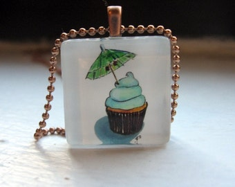 Watercolor Art Pendant Necklace- Cupcake Charm Necklace - Tropical Cupcake Necklace Art Glass Tile Pendant Jewelry