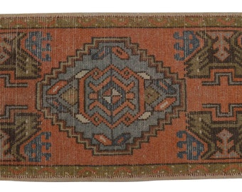 Hand Knotted Turkish Oushak Yastik Rug Tribal Patterns Faded Colors USHAK Small Rug Carpet Doormat 19'' x 37'' Bath Math - sku:  BS3929