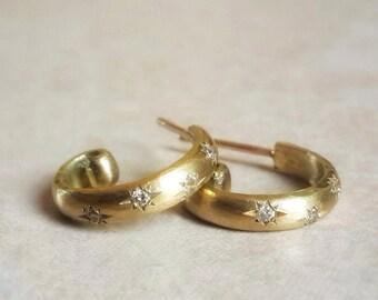 Hoop Earrings in 18k Solid Gold and Diamonds . Star Studded Hoops . Diamond Earrings . Diamond Hoops . Small Hoops . Star Setting