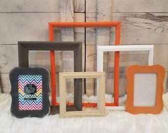 Gallery Wall FRAME SET Ready to Ship Wyatt Collection Wall Collage Frame Set Ombre Brown,Orange, Charcoal, White Farmhouse Boy's Room Decor