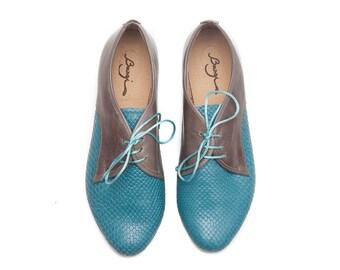 Turquoise Leather Shoes, Turquoise Shoes, Turquoise Oxford Shoes, Close Shoes, Flat Shoes , Free Shipping