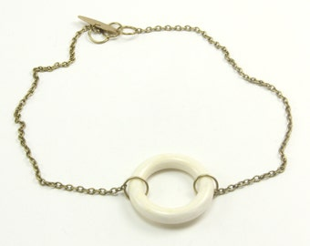 "Necklace, Vintage Ivory Color Plastic/Resin Open Circle Ring Choker 16"" Adjustable Necklace, Artisan Designed and Crafted 