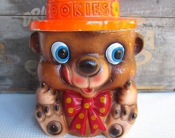 Vintage Bear with Bow Orange Hat Ceramic Cookie Jar