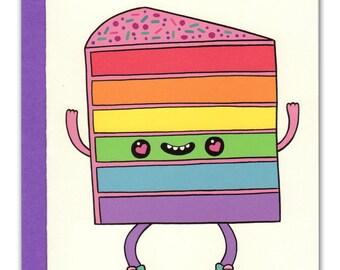 Happy Rainbow Cake Card