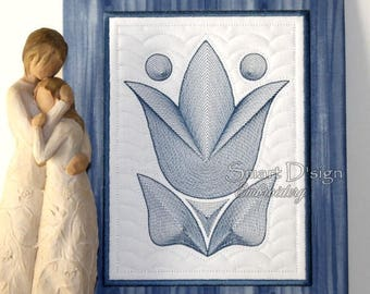 Tulips Quilt &Applique 2 Sizes in Set 5x7 inch 6x8 inch Machine Embroidery Design