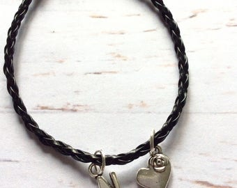 Black cord/rope tibetan silver initial/letter heart charm bracelet, faux leather initial charm heart bracelet, personalised charm bracelet,