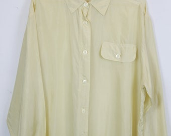 Vintage silk shirt, 90s clothing, light yellow, shirt 90s, long sleeves, oversized
