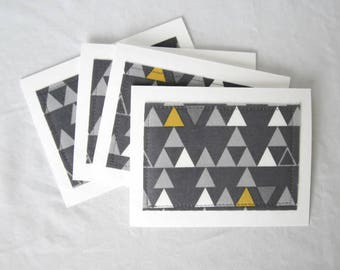 Blank notecards, Notecard set, fabric notecards, gray and yellow triangles, set of 8