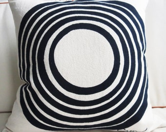 NEW Modern Navy Sun Modern Circles Pillow, Old Holly wood mid century, Silk Screened on Bark Cloth, 20 inch by 20 inch with insert