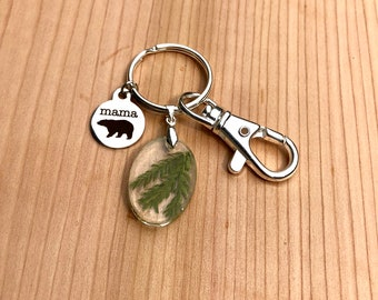 Mama bear real pine in resin keychain