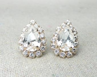 Swarovski Crystal Faux Diamond Pave Halo Pear Post Earrings Rose Gold Earrings Bridal Jewelry Wedding Earrings Bridesmaids Gifts