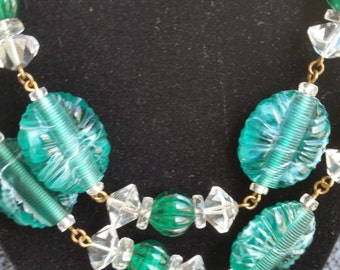 Vintage 1960's GRIPOIX GLASS Necklace opera length