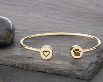 Heart and Paw Print Adjustable Cuff Bracelet, Heart Charm, Paw Print Charm, Dog Jewelry, Dog Bracelet, Dog Memorial