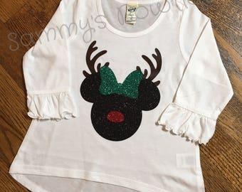Minnie Mouse Reindeer ruffled 3/4 sleeve high low top ! Disney shirt, disney family shirts, glitter, Disney Christmas shirts.